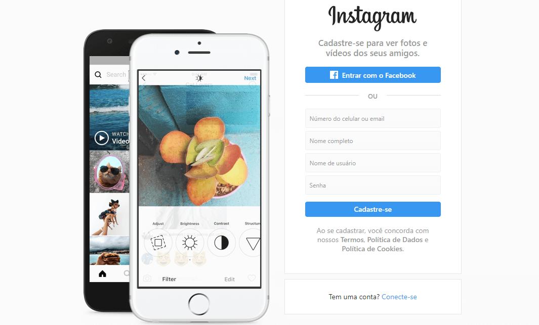 criar uma conta no instagram