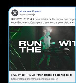 Anúncio patrocinado do facebook da Moviment Fitness. Mulher correndo na esteira X