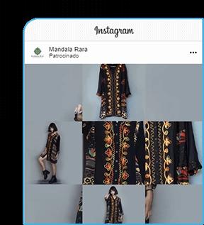 Anúncio patrocinado do Facebook sobre a loja Mandala Rara mostra uma mulher com vestido Indiano