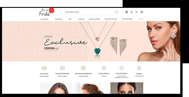 print da tela de computador mostra o layout implementado pela Eficaz Empresa Biju da Frida