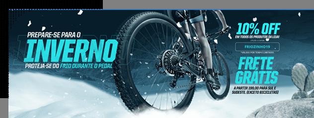 banner de site de bikes e acessórios para pedalar mostra um ciclista pedalando no inverno. Oferece frete grátis e descontos.
