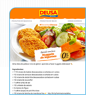 layout de e-mail marketing Deusa alimentos. Receita culinária. Prato com nugget com legumes
