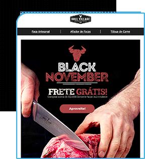 modelo de e-mail marketing loja de facas, mostra uma pessoa cortando uma carne vermelha