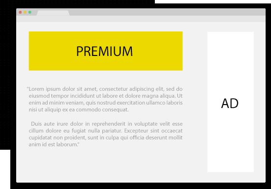 mockup de uma página da internet com os locais onde os anúncios podem ser divulgados