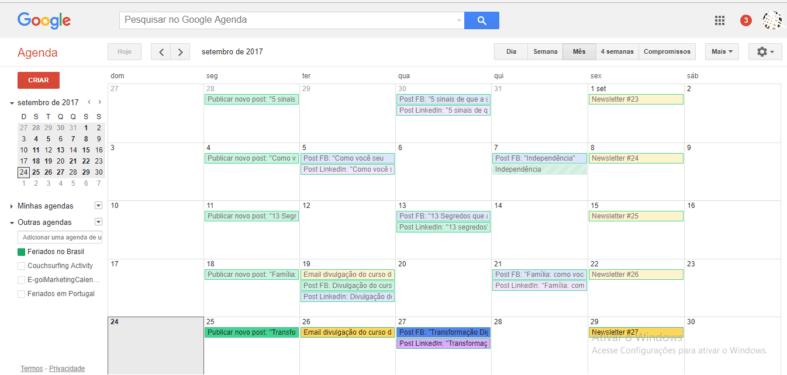 Exemplo de Calendário Editorial no Google Agenda