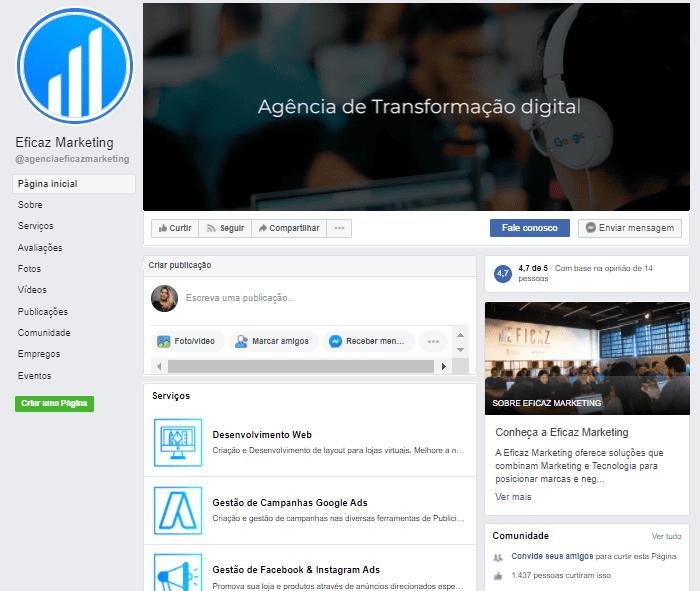 página do facebook agencia eficaz marketing